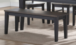 Raven Farmhouse 6-Piece Dining Set with 60-inch Table, 4 Side Chairs and Bench in Two-Toned Ebony and Driftwood Finish