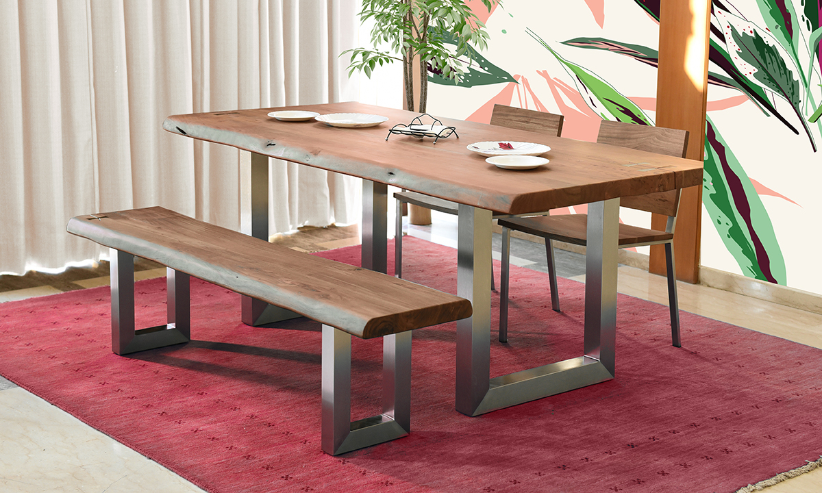 Organic Live Edge Acacia Wood 6 Piece Dining Set The Dump Luxe Furniture Outlet