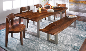 Madison Live Edge Acacia Wood 84-inch 5-Piece Dining Set