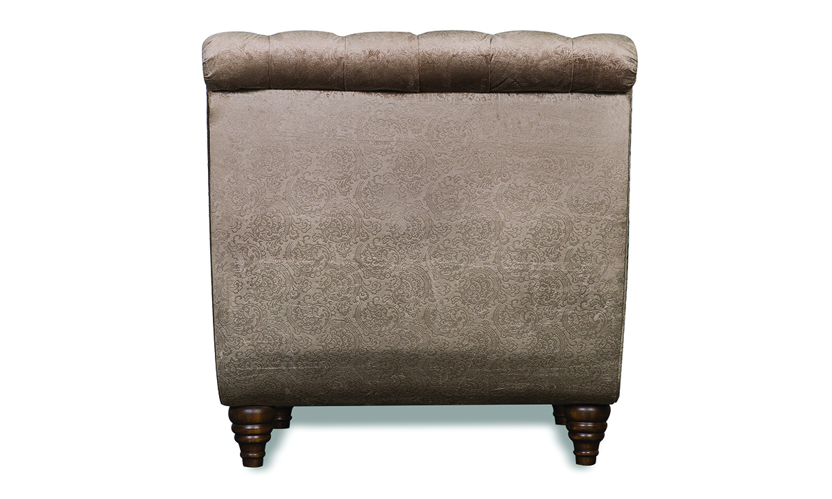 Aria Verona Hand-Tufted Champagne Velvet Chaise Lounge Chair with Nailhead Trim and Pillow
