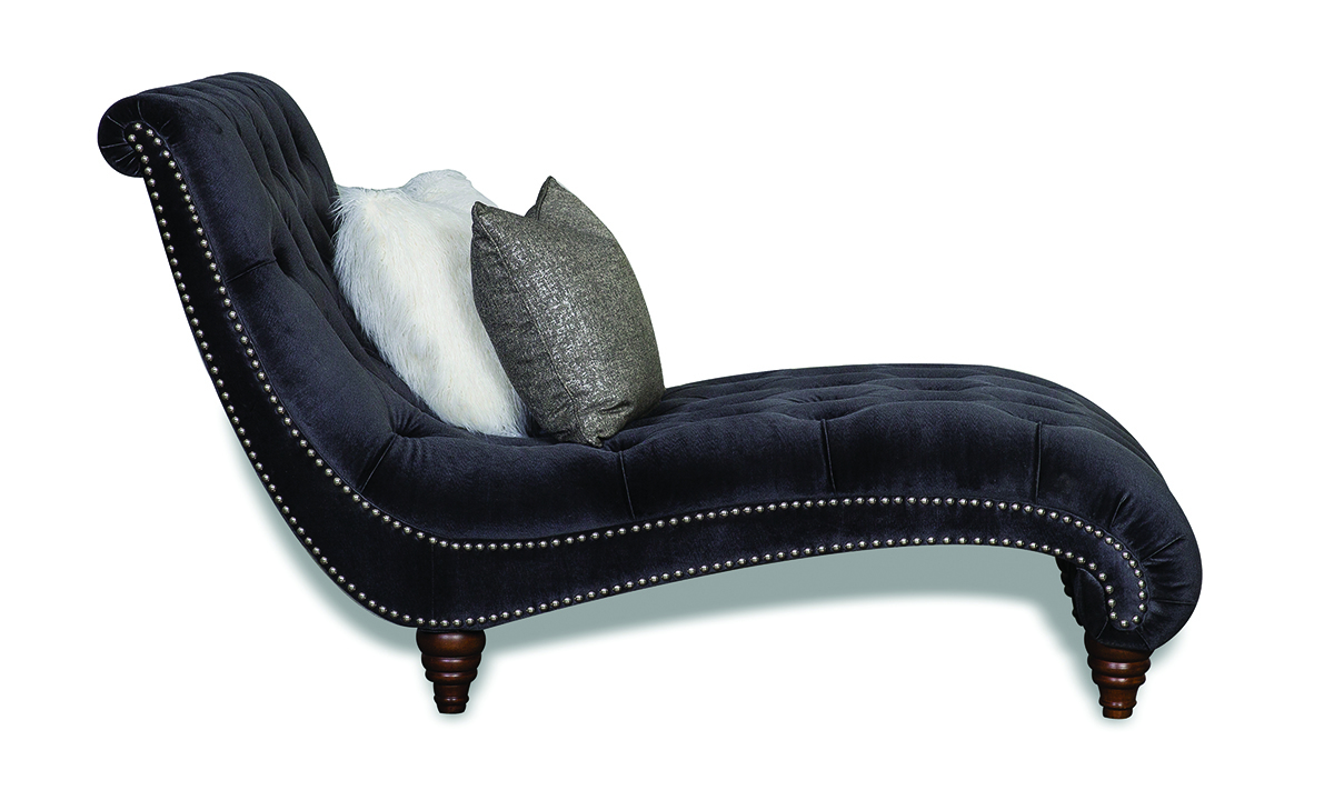 Aria Verona Hand-Tufted Contemporary Charcoal Velvet Chaise Lounge with Nailhead Trim and Pillows