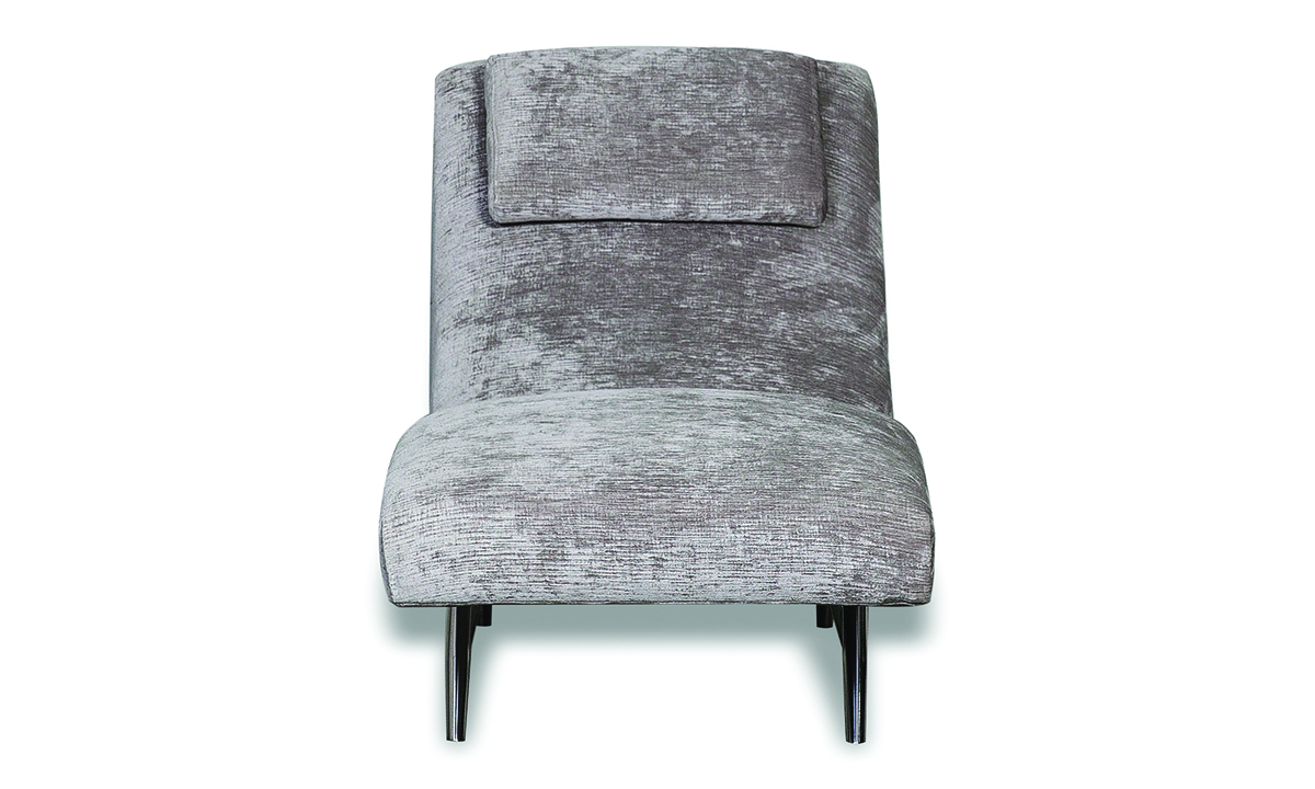 Aria Alanis Contemporary 74-inch Chaise Lounge in Silver Fabric with Chrome Legs