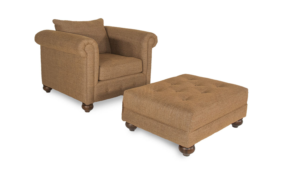 Tufted Ottoman with Turned Bun Feet Upholstered in Neutral Chutney Fabric