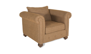 Roll-Arm Accent Chair with Button Tufting across Bottom Panel Upholstered in Neutral Chutney Fabric