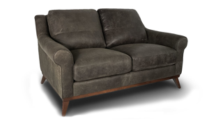 Eureka Italian Top-Grain Leather Mid-Modern Loveseat with plush back, roll arms and wooden tapered legs in Hearth Brown