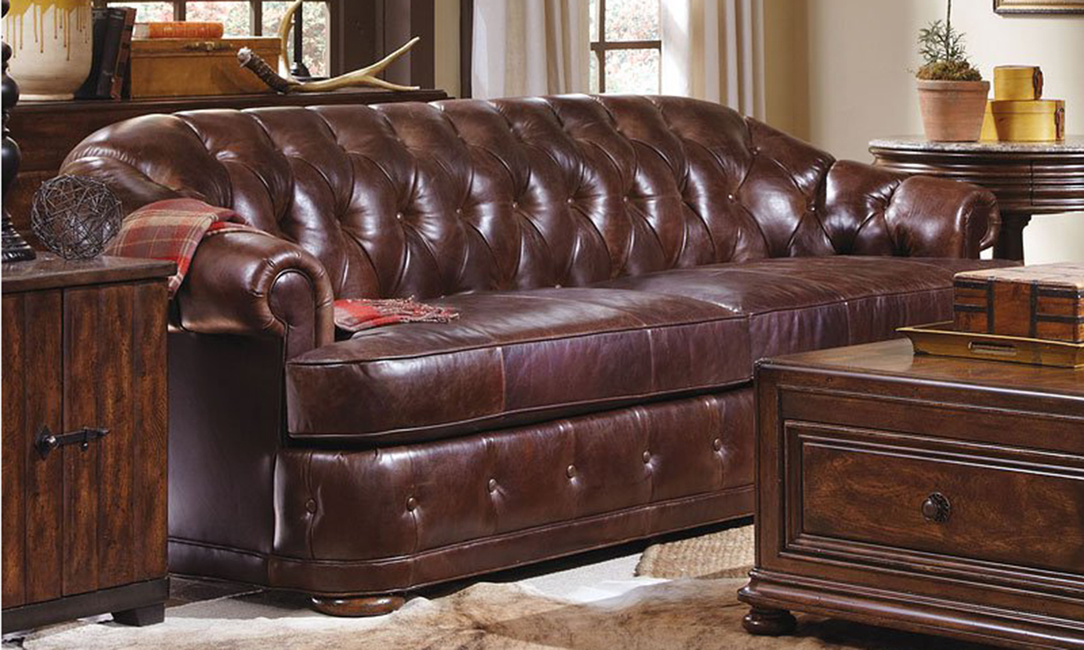A.R.T. Kennedy Top Grain Leather & Feather Down Chesterfield Sofa