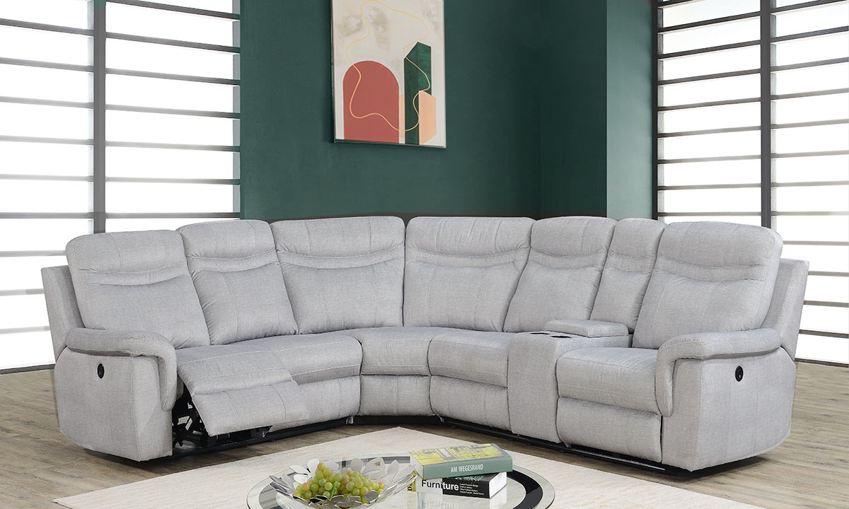Shino Grey Power Reclining Storage Sectional with USB Charging