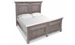 Traditional panel bedroom set with bed, dresser with mirror and nightstand in weathered grey finish