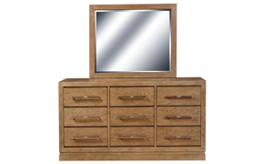 King bedroom set with linen upholstered panel bed and 9-drawer triple dresser with mirror in mocha brown pine wood.