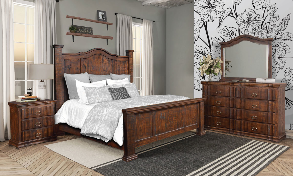 Horizon Home Grand Rustic King Mansion Bedroom Set crafted from solid pine in Whiskey Brown finish includes bed, 8-drawer dresser and landscape mirror