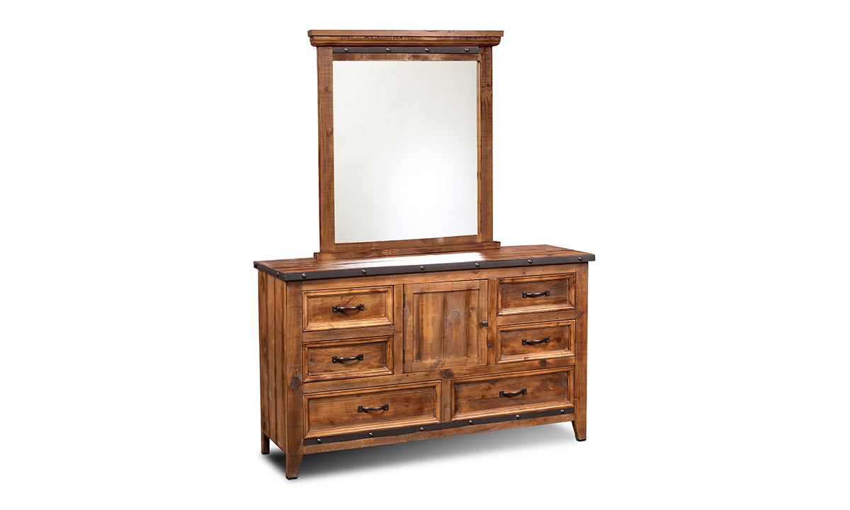 Horizon Home Urban Rustic King Bedroom crafted from solid pine with king bed, cabinet dresser and portrait mirror