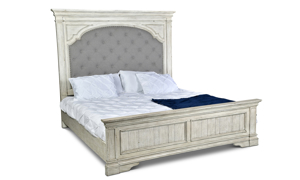 "King mansion bed with upholstered 72"" headboard in distressed white finish"