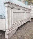 """King mansion bed with upholstered 72"""" headboard in distressed white finish"""