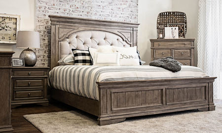 Highland Park Driftwood Upholstered King Bed