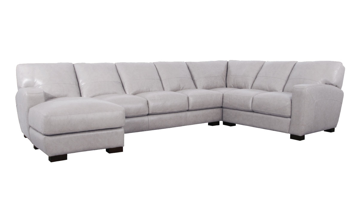 Fog Grey Italian Leather 3-Piece Chaise Sectional