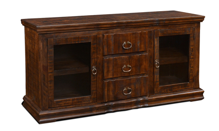 "Handmade rustic 64"" solid pine entertainment console with 2 glass framed cabinet doors and 3 full extension drawers wrapped in a versatile brown finish."