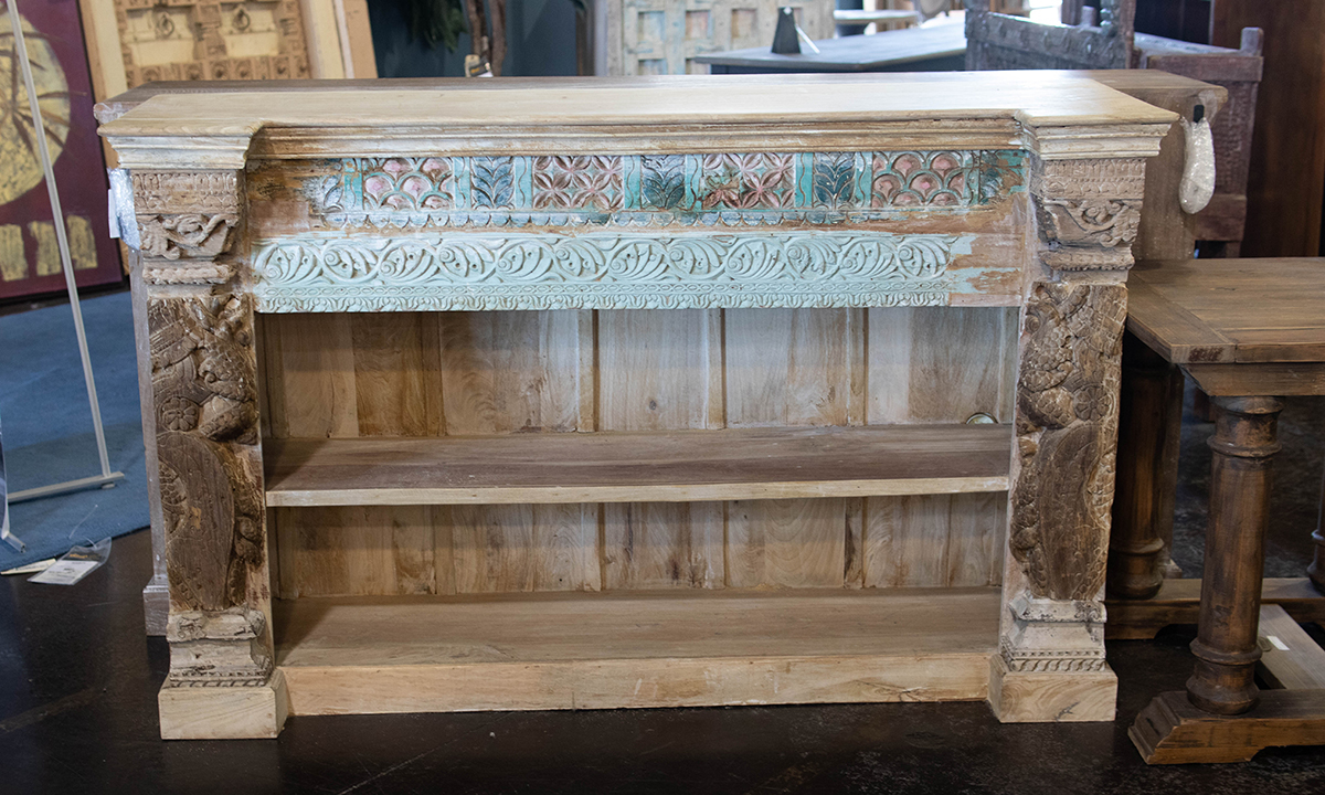 Pink City Carved Wood Bookcase