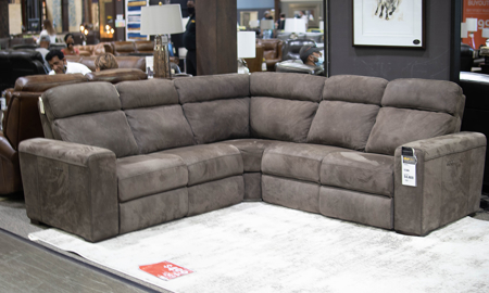 Era Nouveau Coco Top Grain Suede Leather Power Sectional