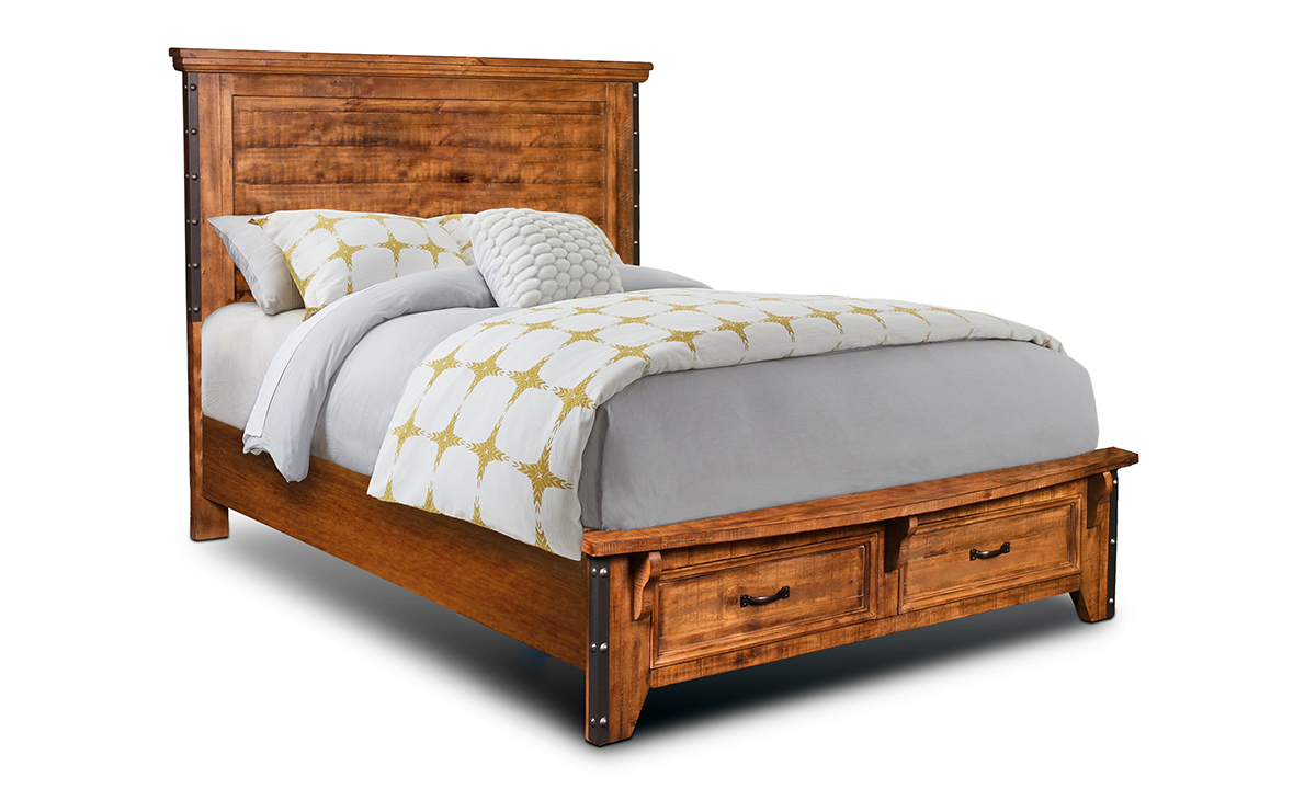 Horizon Home Urban Rustic Solid Pine King Storage Bed