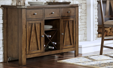 A-America Eastwood Server with two cabinets, three dovetail drawers and wine storage in rich tobacco finish