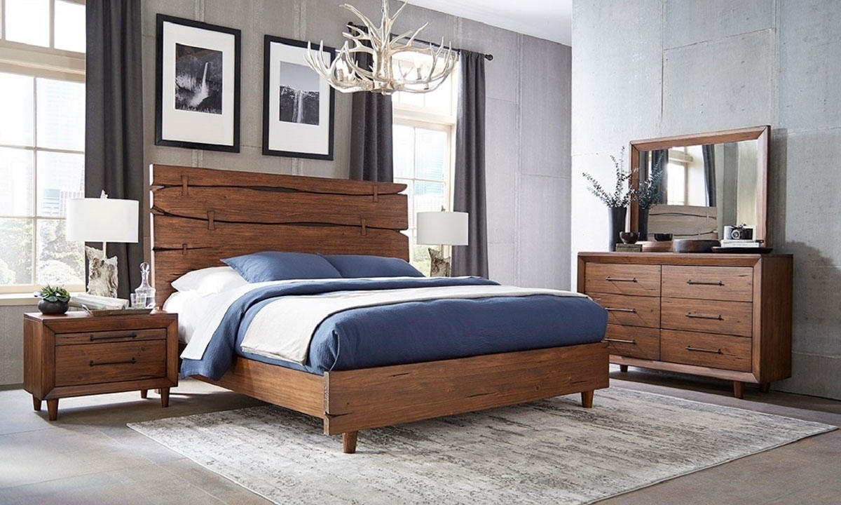 Denver Brown Bedroom Sets - Queen or King size bed, dresser and mirror made of solid Pine