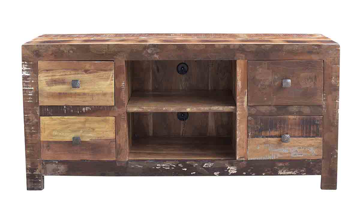 Ganges 60-Inch Handcrafted Solid Wood Media Console