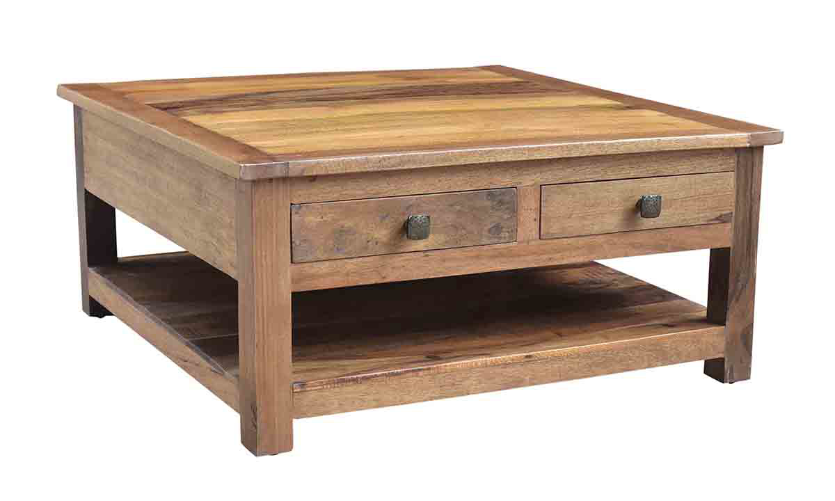 Nepal Handcrafted Solid Wood Square Cocktail Table