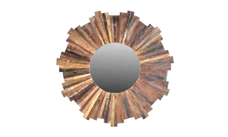 Lotus Handmade Solid Wood Sunburst Mirror