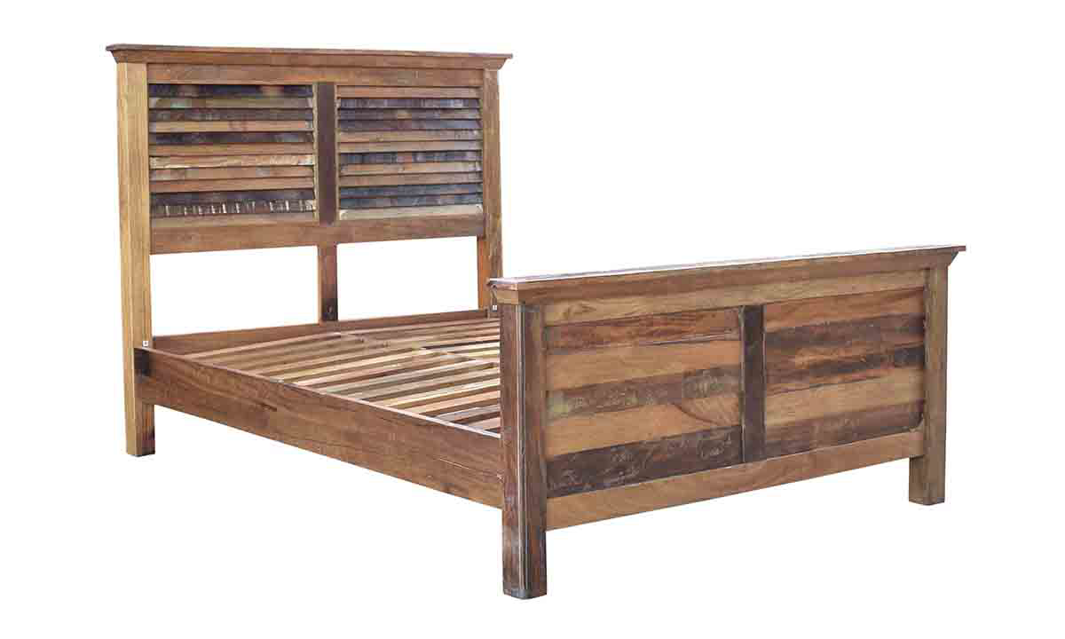 Mumbai Handcrafted Solid Wood Queen Panel Bed