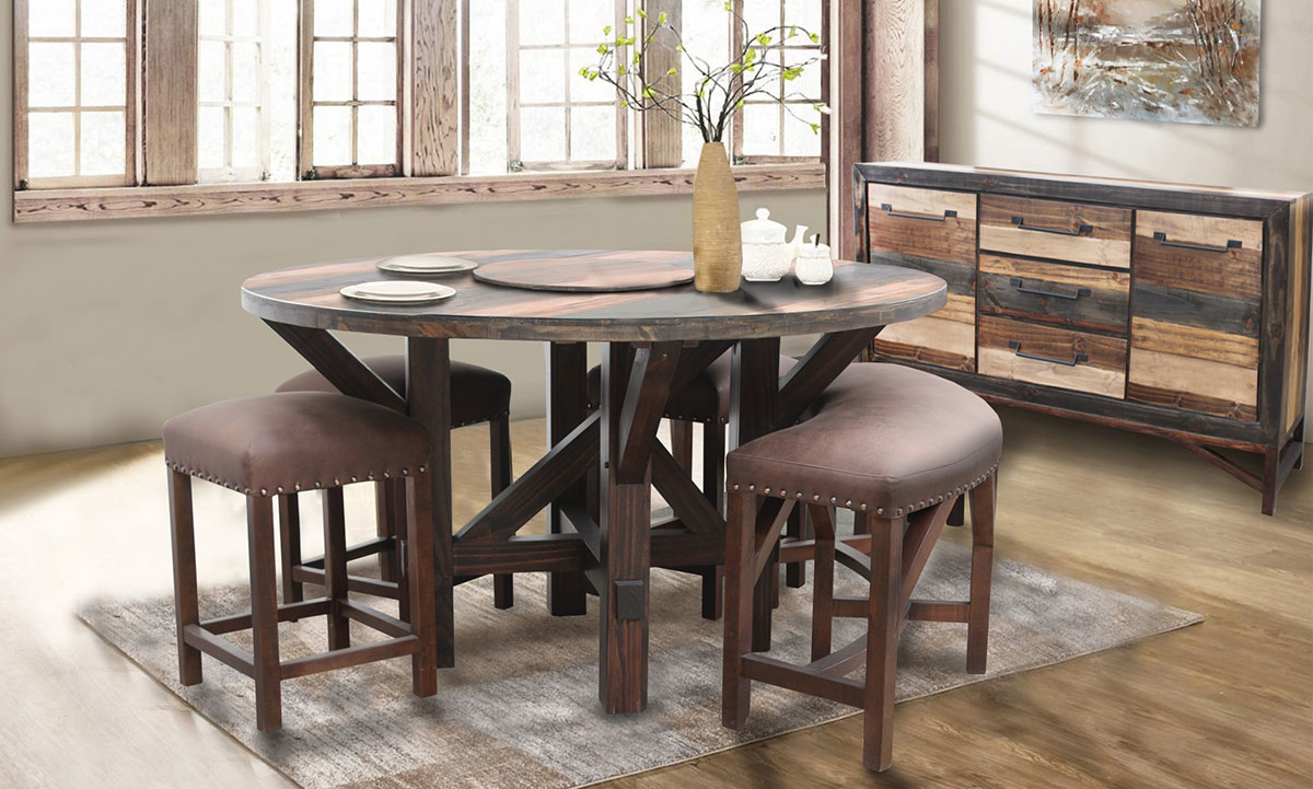 Urban Roads Newport Round Lazy Susan Table