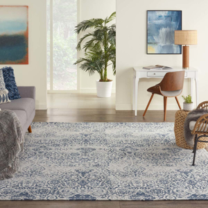 Picture of Damask DAS06 Blue Area Rugs
