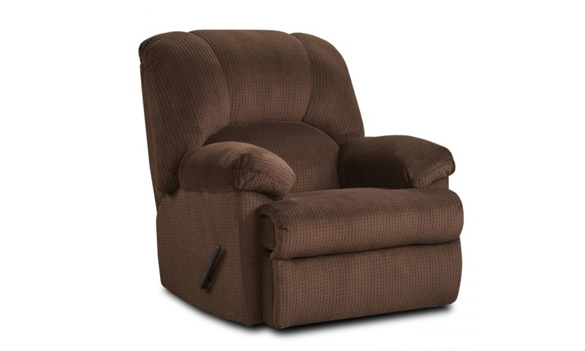 Oversized chocolate brown fabric manual recliner.