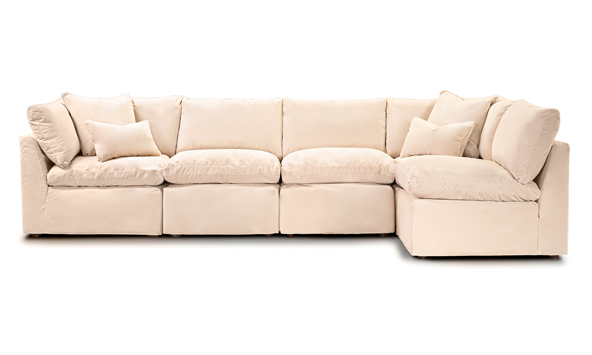Jessica Jacobs Luxe Sand Chaise Slipcovered Sectional