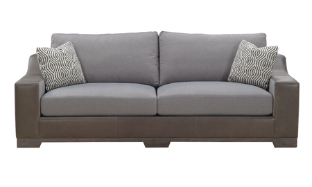 96-Inch leather frame sofa with a mix of gray tweed fabric and brown leather atop wood feet
