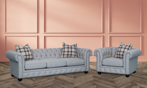 98-inch Chesterfield sofa in grey upholstery with button tufted back and roll arms - Room shot