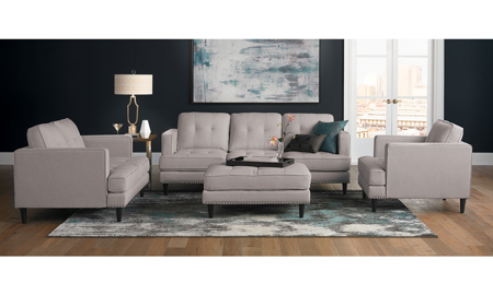 Jax 4-Piece Hand-Tufted Mid-Century Trounce Linen Living Room Set