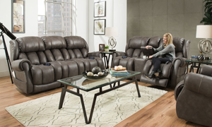 Slate Custom Comfort Power Reclining 3-Piece Living Room Set