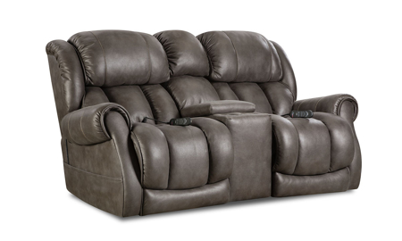Slate Custom Comfort Power Reclining Console Loveseat