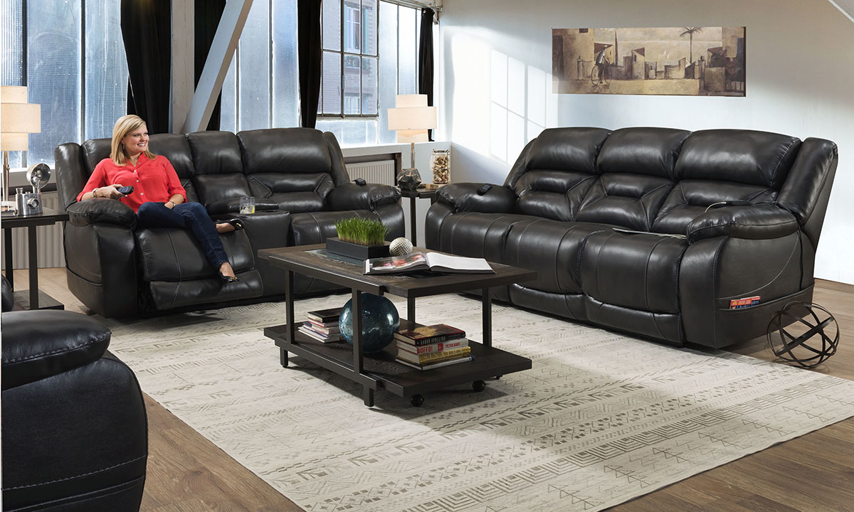 Gunmetal Grey Leather Power Reclining 3 Piece Living Room Set The Dump Luxe Furniture Outlet