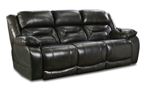 Gunmetal Grey Leather Dual Power Reclining Sofa