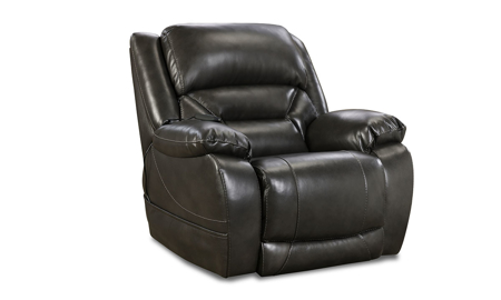 Gunmetal Grey Leather Power Recliner