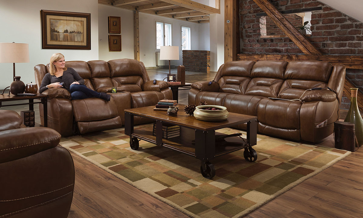 Saddle Brown Leather Dual Power Reclining Console Loveseat