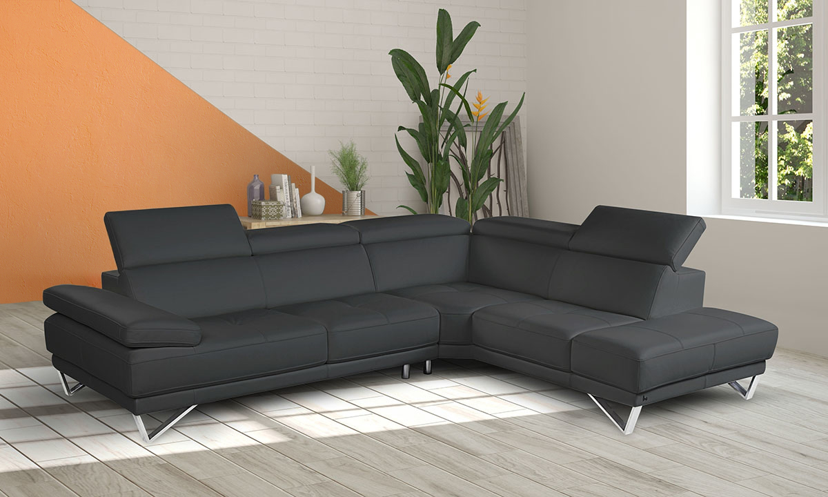 Nicoletti Piazza Grey Leather Chaise Sectional