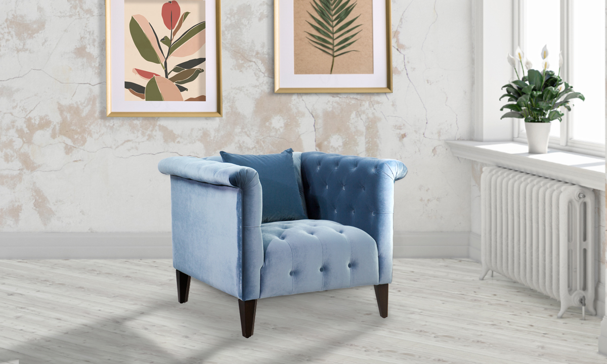 Picture of Jessica Jacobs Marco Powder Blue Velvet Arm Chair