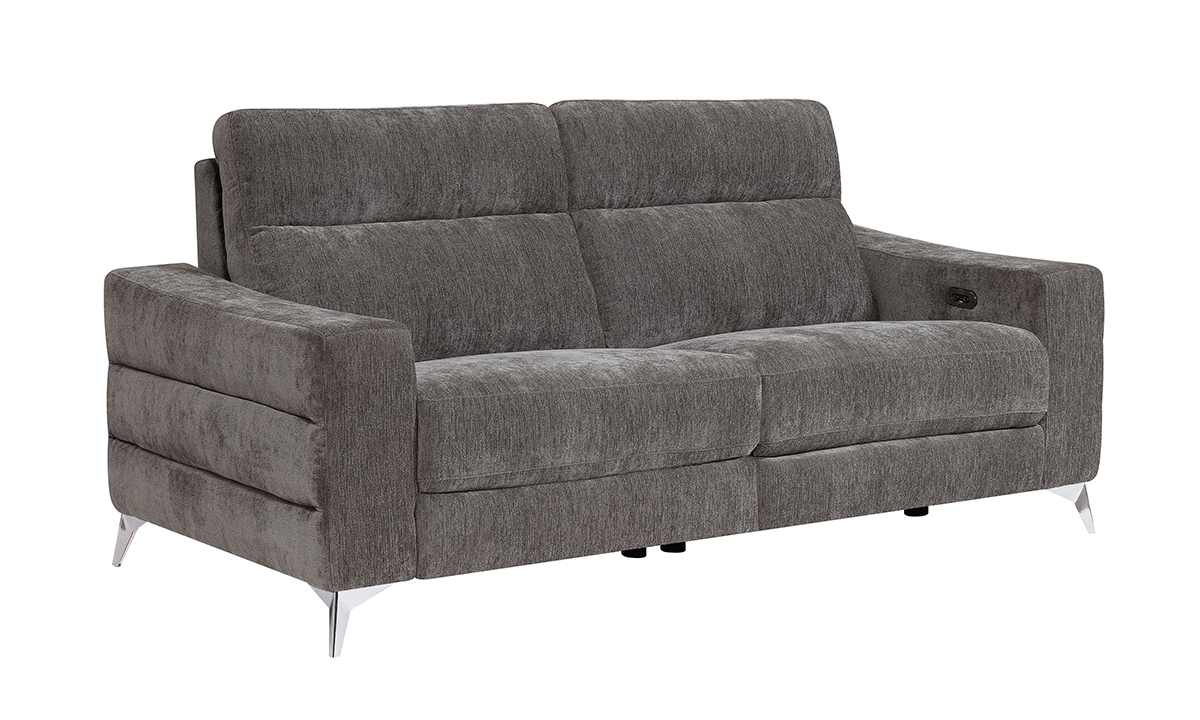 Minori Grey Dual Power Reclining Sofa with Power Headrest
