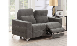 Minori Grey Dual Power Reclining Loveseat with Power Headrest