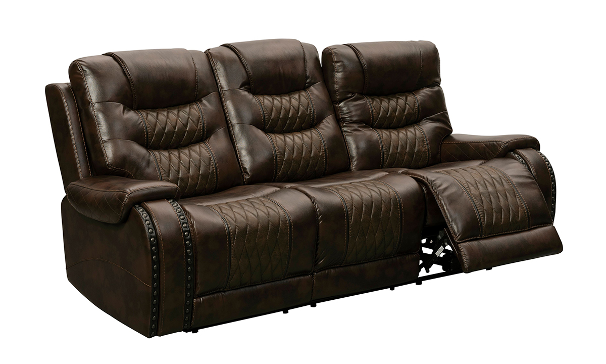 Tempo Brown Leather Power Reclining Sofa with iTable 2.0