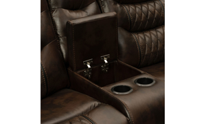 Tempo Brown Leather Dual Power Reclining Console Loveseat