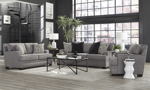 Grey Fabric upholstered living room set including a sofa, loveseat and armchair