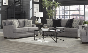 Benton Grey living room furniture set from Behold Home that includes a sofa and loveseat.